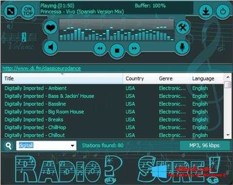 Skjermbilde RadioSure Windows 8